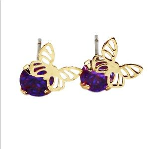 Purple single golden butterfly crystal earrings